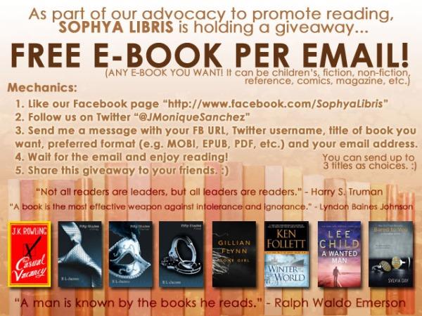 Sophya Libris E-Book Giveaway